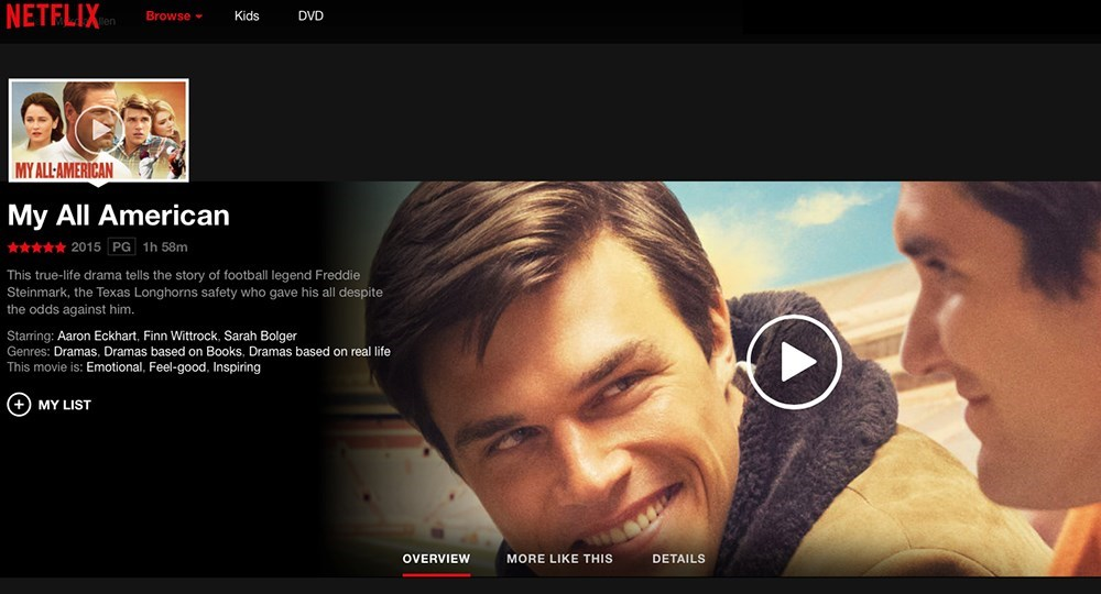 My All American is on Netflix receiving five stars - University of Texas
