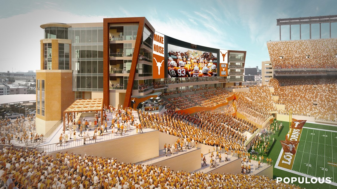 populous selected to design $175 million south end zone for the university  of texas